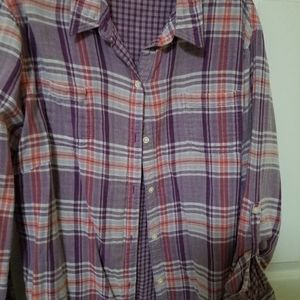 Purple plaid button down shirt XXL